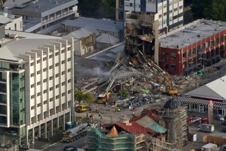 The CTV building after it collapsed