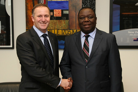 John Key and Morgan Tsvangirai at Parliament (photo: twitter @johnkeypm)