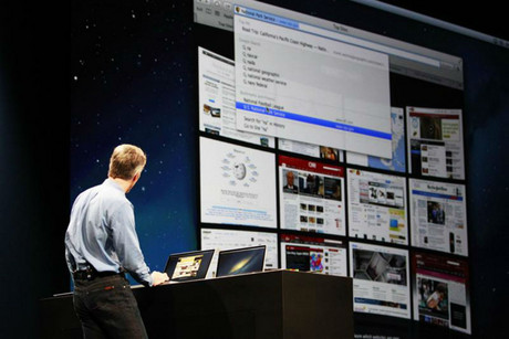 Apple's Craig Federighi shows off the Mountain Lion OS (Reuters)