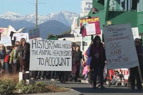 Protestors marching in Hokitika
