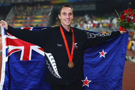 New Zealand's Nick Willis will be the Kiwi Olympic flag bearer. Pictured here with his bronze medal that was later upgraded to silver (file pic)