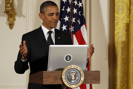 Barack Obama sends a tweet (Reuters)