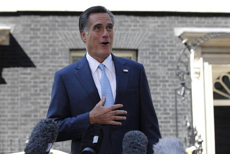 Mitt Romney speaking to the press in London  (Photo: Reuters)