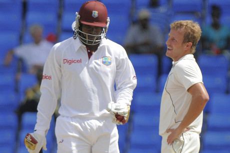 BlackCaps' Neil Wagner chats with West Indies opener Chris Gayle (Photosport)