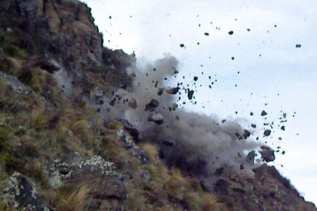 Explosives are used to clear dangerous rocks