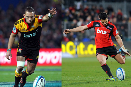 Chiefs' Aaron Cruden will do battle with DC, Crusaders firt-five Dan Carter. Who will come out on top?