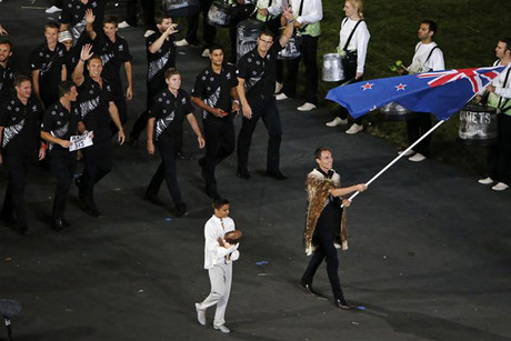 Nick Willis leads the Kiwi team at the Opening Ceremony (Reuters)