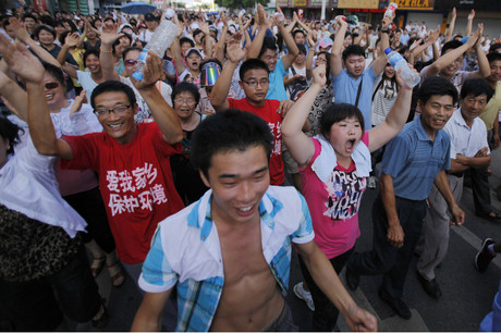 Protesters in Qidong in Jiangsu yesterday (Reuters)