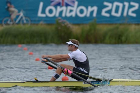 Mahe Drysdale in action during the Men's Single Sculls heat 2 during the London 2012 Olympic Games (AAP)
