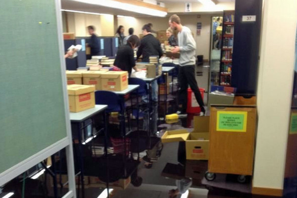 Flooding inside the Auckland University library (Photo: Faisal Halabi)