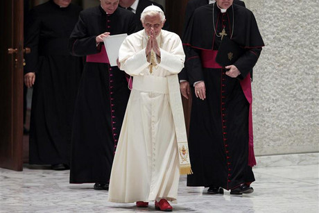 Pope Benedict arrives for an audience at the Vatican  (Photo: Reuters)