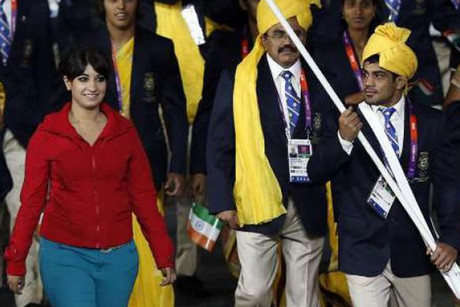Who are you? The woman in red marched with the Indian team (Reuters)