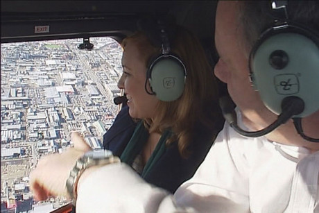 Campbell Live reporter Natasha Utting gets an aerial explanation of the city plans