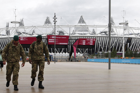 Soldiers walk through Olympic Park (file: Reuters)