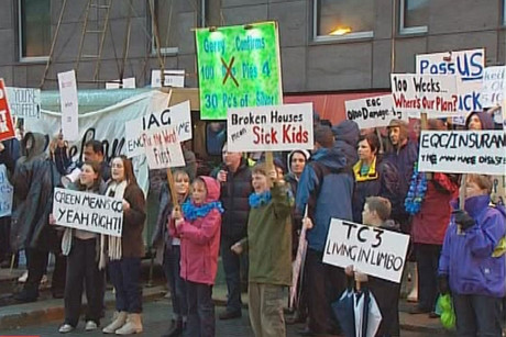 Christchurch residents protesting outside the Christchurch City Council this afternoon