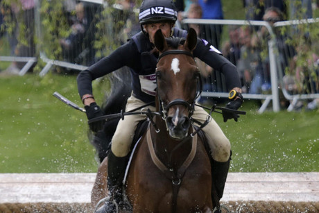 Mark Todd in action in the cross country stage of eventing (NZN)