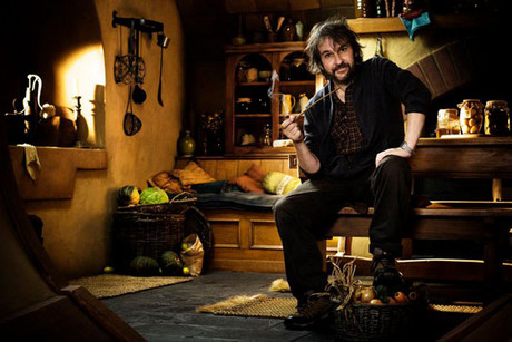 Sir Peter Jackson on the set of The Hobbit