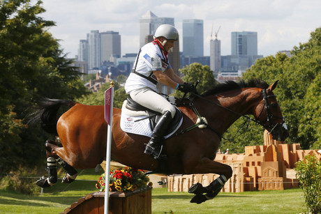 Zara Phillips competes in the Eventing Cross Country equestrian event on Monday (Reuters)