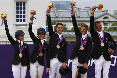 The Kiwi eventing team with their bronze medals (Photosport)
