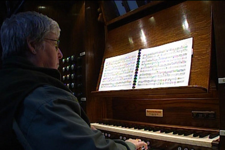 Organist Dianne Halliday was playing at St Peters church last night when the quake struck