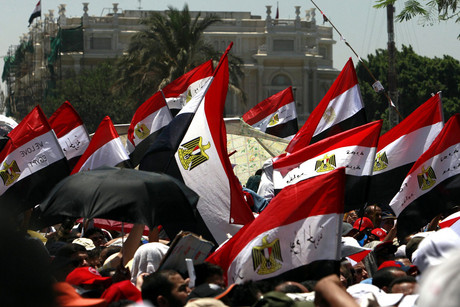 Egyptians wave their national flag during a protest (AAP)