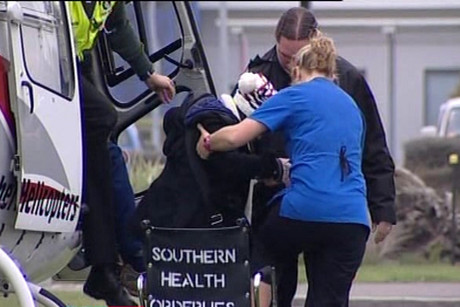 An injured passenger arrives at Southland Hospital by helicopter
