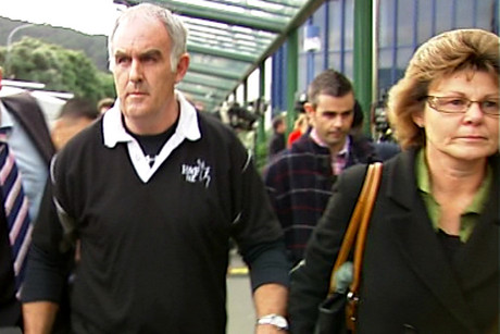 Kerry (left) and Marlene (right) outside court, followed by Ewen's brother Blair