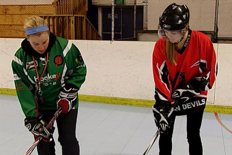 Ice and inline hockey pro Cherie Piper (left) shows how it's done
