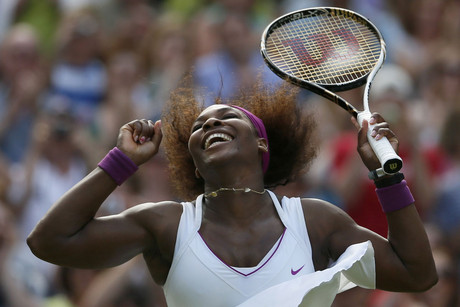 Serena Williams celebrates after defeating Victoria Azarenka of Belarus (Reuters)
