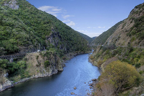 The Manawatu River was running almost seven metres higher than normal through the Manawatu Gorge