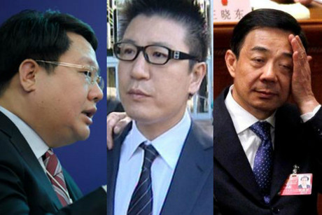 Xu Ming (left), Bill Liu and Bo Xilai (right)