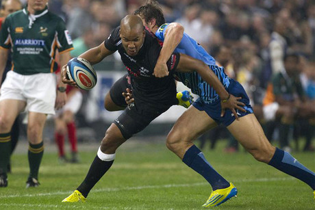 rks player JP Pietersen is tackled by Bulls player Juandre Kruger (Reuters)