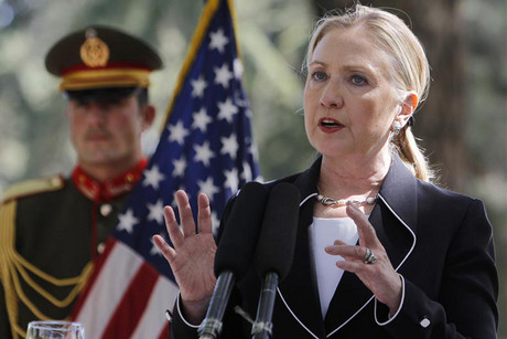 US Secretary of State Hillary Clinton speaking at a news conference in Kabul yesterday  (Photo: Reuters)