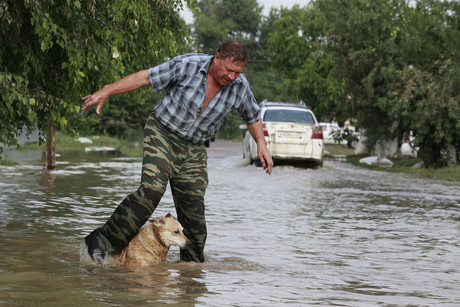 A local resident and a dog cross a flooded street in the town of Krymsk (Reuters)