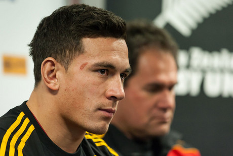 Sonny Bill Williams, left, at his announcement today (Photosport)