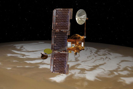 Mars Odyssey spacecraft, in an artist's concept illustration