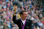 Mark Todd celebrates after the New Zealand Eventing Team wins bronze (Photosport)