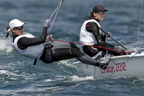 Jo Aleh and Olivia Powrie during the first race of the women's 470  (Reuters)
