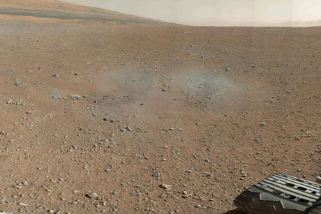 A small part of the 360-degree image Curiosity took on Mars
