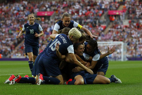 Carli Lloyd of the US celebrates a goal with her team mates in their women's soccer final gold medal match against Japan at Wembley Stadium (Reuters)