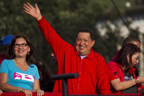 Hugo Chavez at a rally for the upcoming Venezuela elections  (Reuters)
