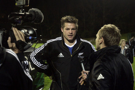 All Blacks captain Richie McCaw is interviewed following the match during the training match between the All Blacks and Auckland (Photosport)