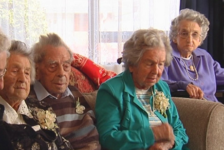 (L-R) Queenie, 104, Ivor, 100, Hazel, 103, and Audrey, 96