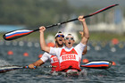 Russia's Yury Postrigay and Alexander Dyachenko celebrate after the men's kayak double (K2) 200m event at Eton Dorney (Reuters/Darren Whiteside)