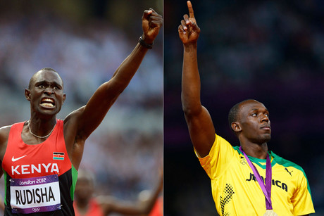 Kenya's David Rudisha and Jamaica's Usain Bolt (Reuters)