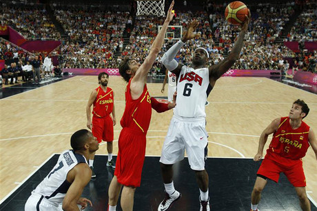 LeBron James goes for a basket against Spain (Reuters)