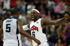 Lebron James (R) of the US celebrates with teammate Kevin Durant during their men's gold medal basketball match (Reuters)