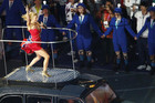 Geri Haliwell of British pop group The Spice Girls performs on the top of a London taxi during the closing ceremony of the London 2012 Olympic Games (Reuters)