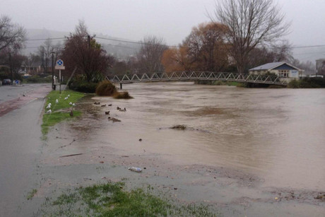 The heavy rain has caused flooding across the Canterbury region