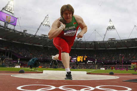 Nadzeya Ostapchuk competing at the London 2012 Olympic Games (Reuters file)